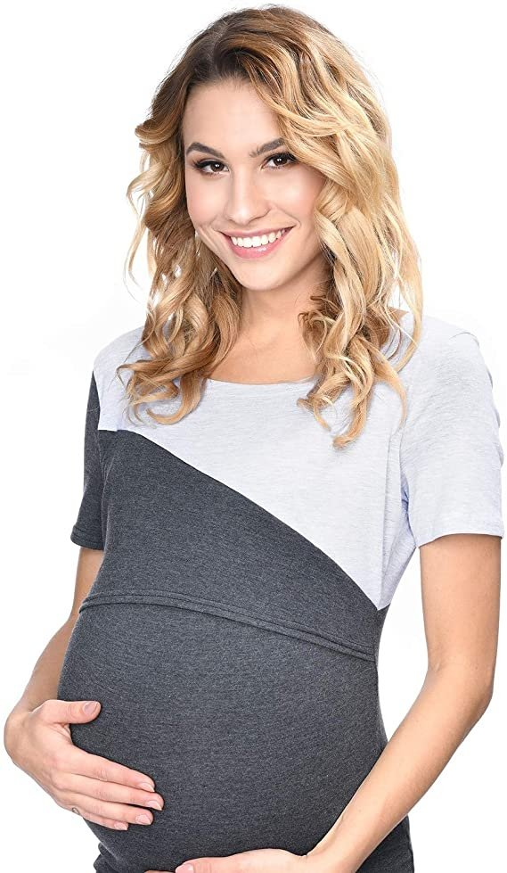 Bluzka ciążowa i do karmienia Jane 9093 kr. rękaw grafit  3