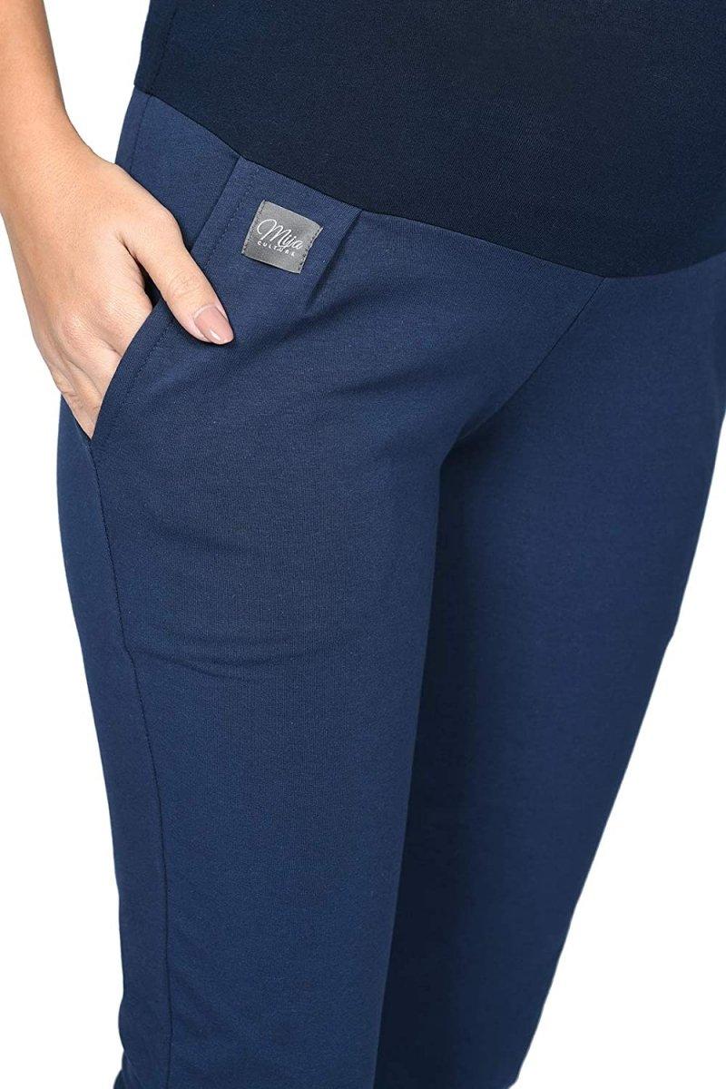 MijaCulture Wygodne spodnie dresowe ciążowe Coco M003 granat4