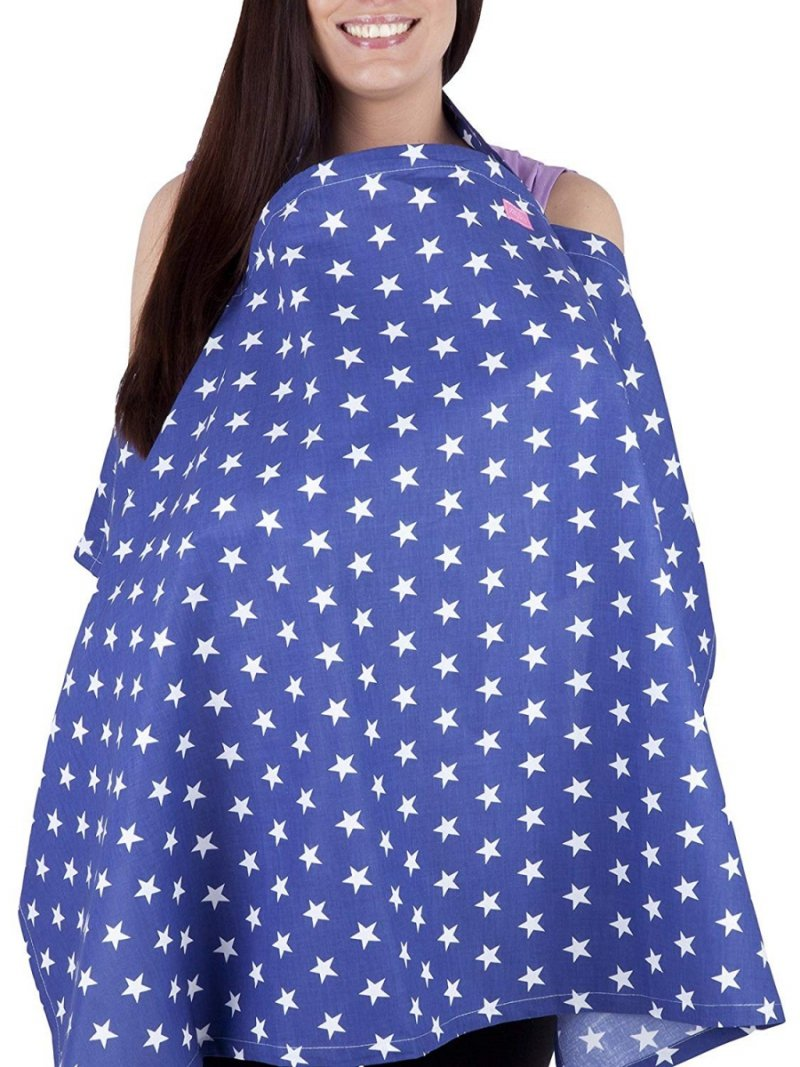 MijaCulture - chusta, peleryna do karmienia piersią + etui 4010/M34 niebieski/gwiazdki