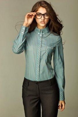 Koszula w modną kratę - turkusowa - K37