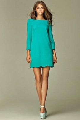 Intrygująca sukienka z zamkiem na plecach - morski - S28