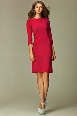 Sukienka z falowanym brzegiem - bordo - S30