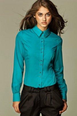 Koszula z podwójnymi guzikami - lazur - K38