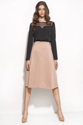 Elegancka bluzka z dekoltem z siatki - czarny - B49