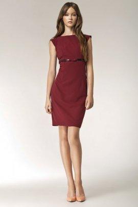 Sukienka z kokardką - bordo - S36