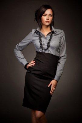 Elegancka spódnica z podniesionym stanem - czarny - SP02