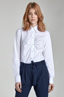 Koszula z marszczeniem na biuście - biały - K24
