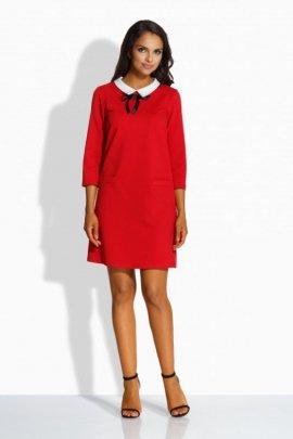 L222 Klasyczna sukienka z kołnierzykiem czerwony