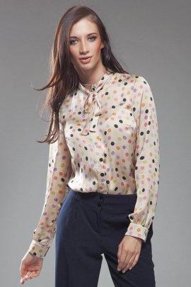 Subtelna bluzeczka z kokardą - kropki - B18