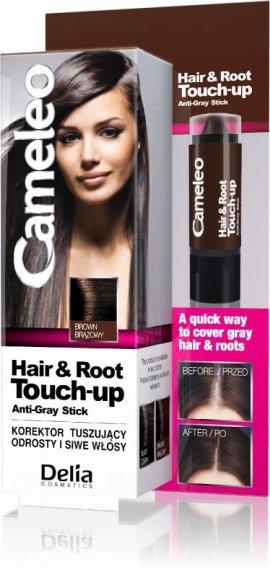 Delia Cosmetics Cameleo Hair&Root Touch-up Korektor tuszujący odrosty i siwe włosy - brąz  1szt