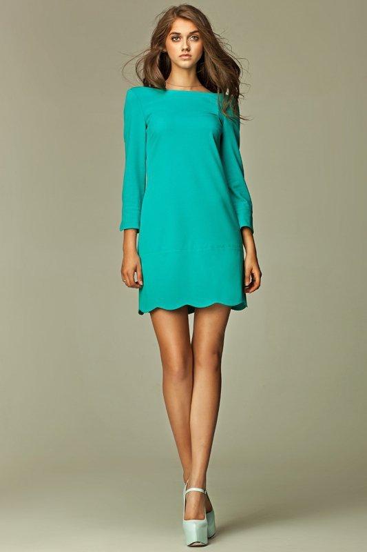 Nife Intrygująca sukienka z zamkiem na plecach - morski - S28