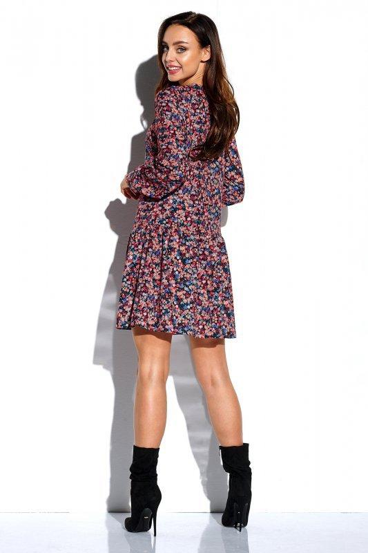 Lemoniade Koszulowa sukienka z falbaną i guziczkami L311 druk 10