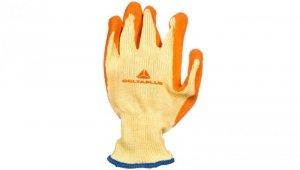 Rękawice dziane z poliestru i bawełny, dłoń i końce palców powlekane Lateksem, ścieg 10 żółto-pomarańczowe rozmiar 10 VE730OR10
