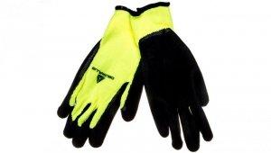 Rękawice dziane z akrylu, dłoń powlekana pianką lateksową, ścieg 10 9 żółte fluo-czarne VV735JA09