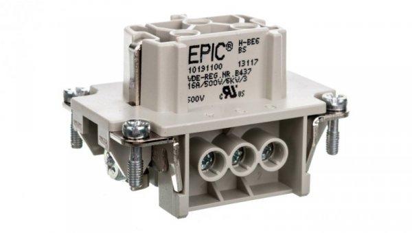 Wkład złącza 6P+PE śrubowy żeński EPIC H-BE 6 BS 10191100