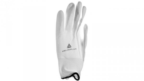 Rękawica z poliamidu 100 procent  rozmiar 9 powłoka poliuretanowa na stronie chwytnej i końcach palców ścieg 13 biała VE70209