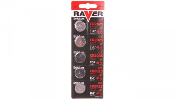 Bateria litowa RAVER CR2025 /blister 5szt./ B7325