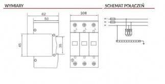 Ogranicznik przepięć fotowoltaiczny DC typ 1+2 (B+C) 3P 1000V 12,5 kA