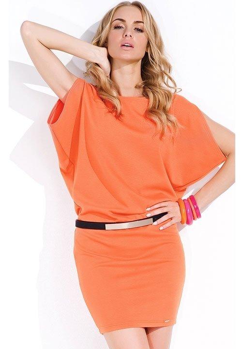 DEBBIE ORANGE pomarańczowa sukienka z paskiem