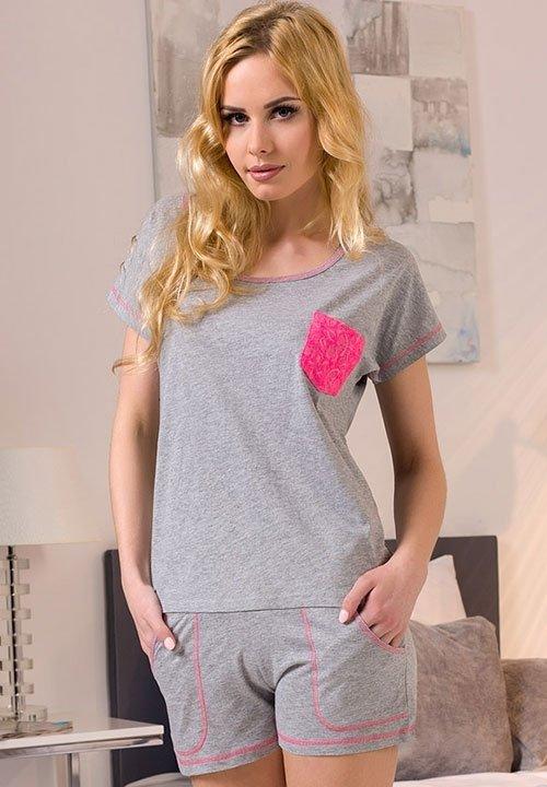 APLI GREY szara, melanżowa piżama: szorty z kieszeniami i koszulka