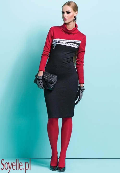 XENIA sukienka z imitacją zamka, dzianina wiskozowa, czarny czerwony