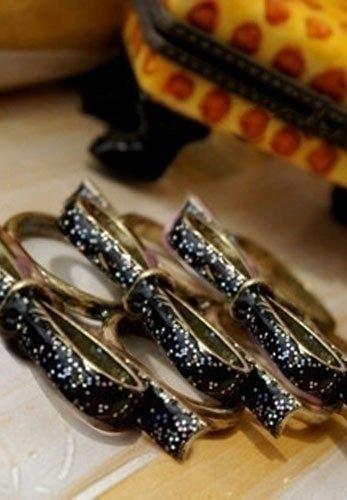 KOKARDA P35 pierścionek na dwa palce - czarna kokarda