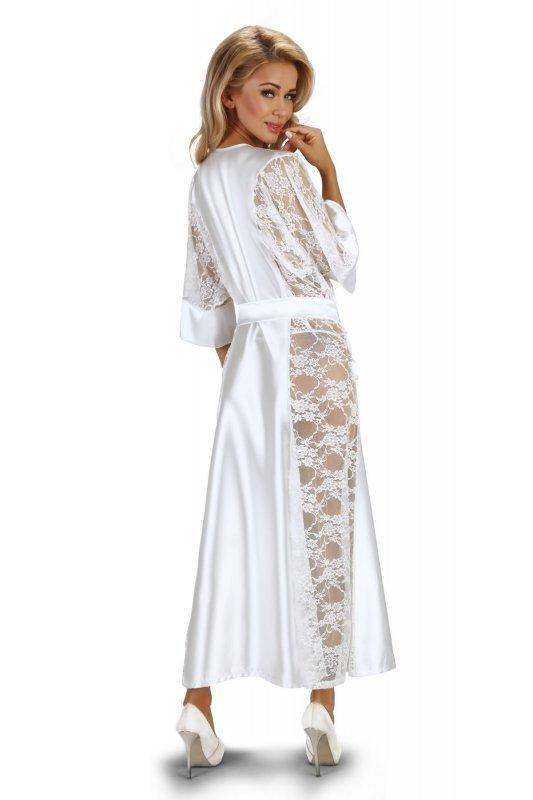 BOUQUET WHITE długi szlafrok z satyny i koronki