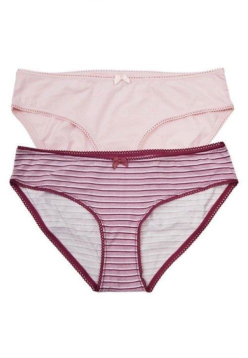 REZA 02 klasyczne majtki z bawełny i elastanu, różowe w bordowe paseczki