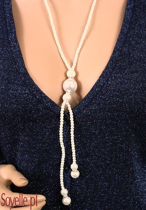 SOLAN długie małe perełki z dużą zawieszką, przekładki z cyrkonii