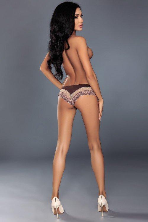 VIRGINIA brązowe majtki z koronką rozm L/XL
