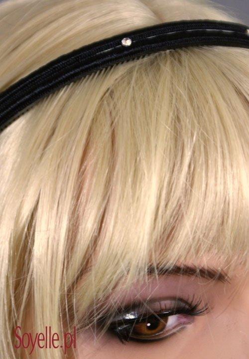 Opaska 127 zdobiona cyrkoniami brązowa, biała, bordowa