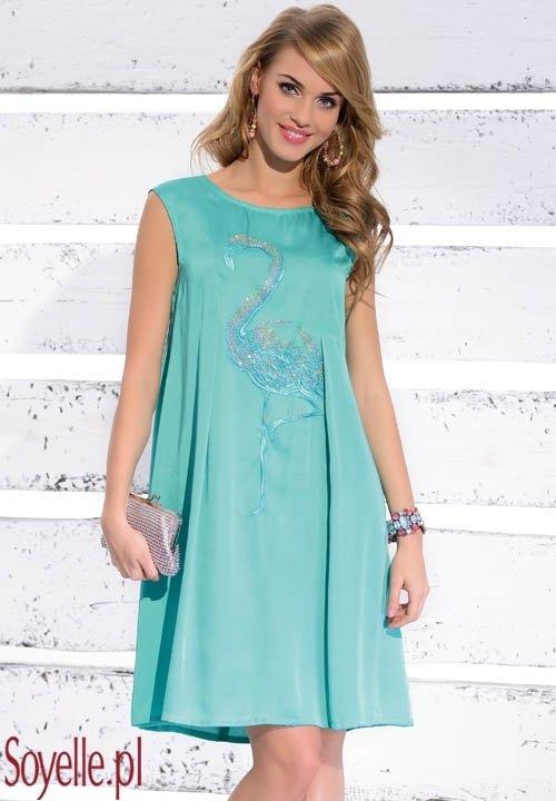 FRANCES elegancka, luźna sukienka z błyszczącym flamingiem