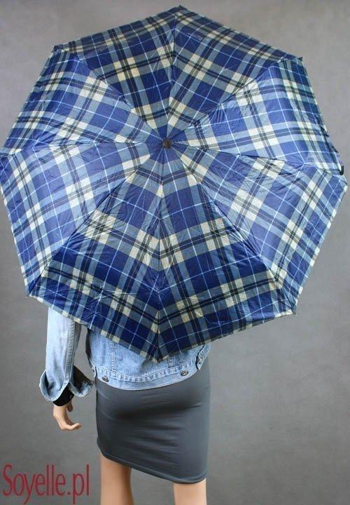 Parasolka damska składana z etui wzór kratka granatowa II gatunek