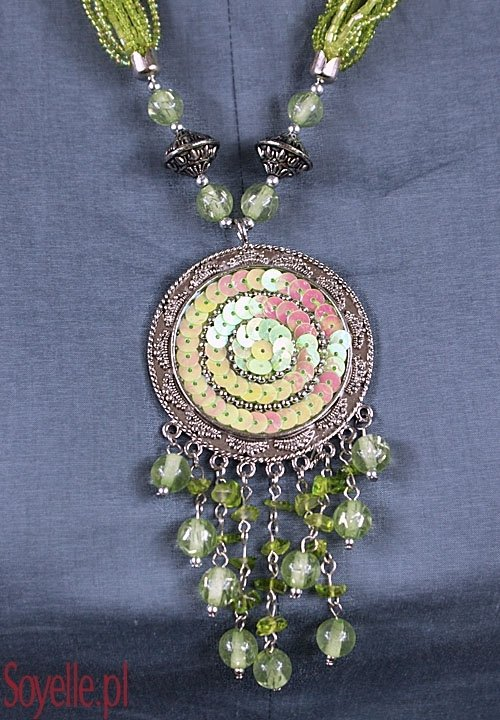 DOMHAN naszyjnik z dużym wisiorem z cekinami różowy, czerwony, zielony, pomarańczowy, niebieski