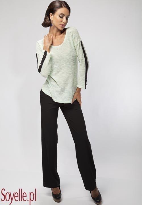 ENNY 16023 MIĘTA sweterkowa bluzeczka w miętowym kolorze, wstawki z dresowej tkaniny