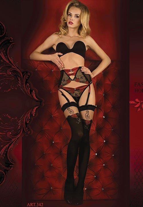 BALLERINA 342 pas do pończoch ze stringami, czarny w czerwone róże