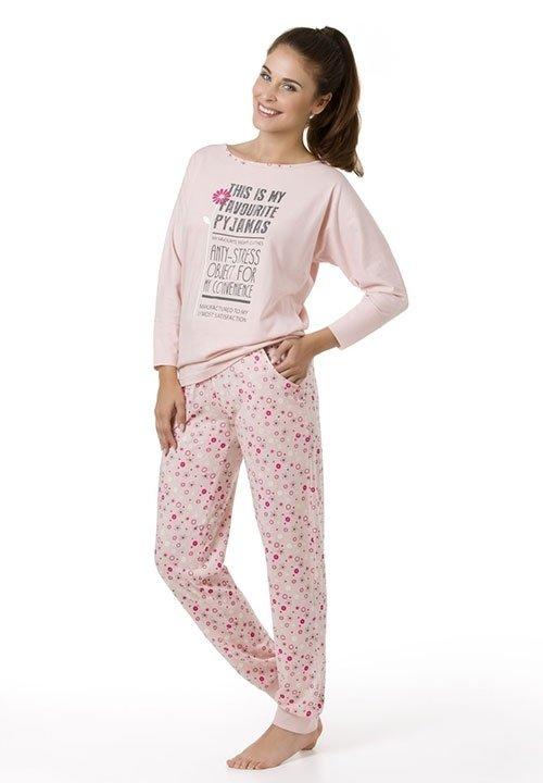 ANTISTRESS PINK różowa piżama z długim rękawem, spodnie w kwiatki