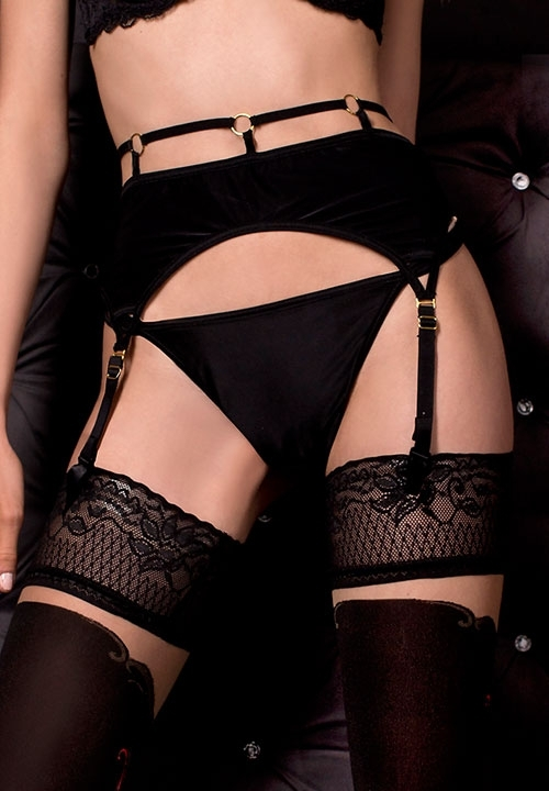 BALLERINA 319 czarne pończochy z beżową wstawką, czerwone wzory, La Bottega