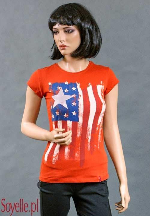 AMERICAN STYLE koszulka z flagą amerykańską i srebrną gwiazdą, ceglasty pomarańczowy