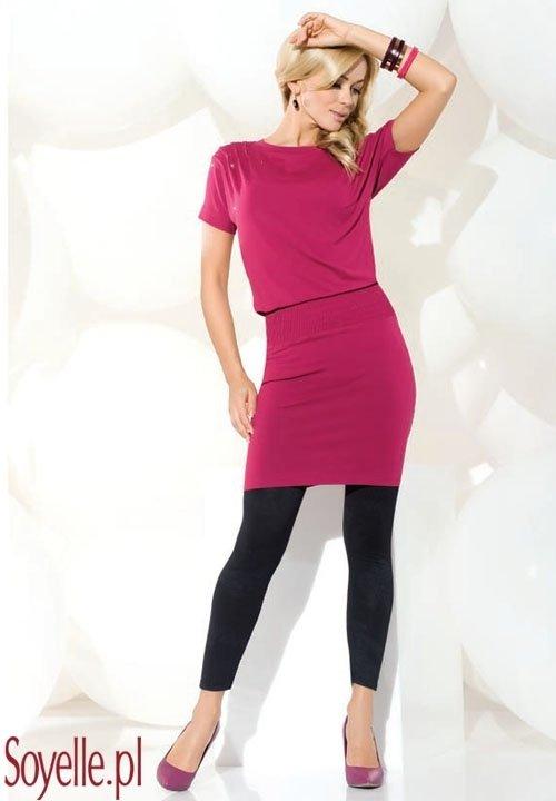 ASTRA sukienka - długa tunika z krótkim rękawkiem fuksja, czarna