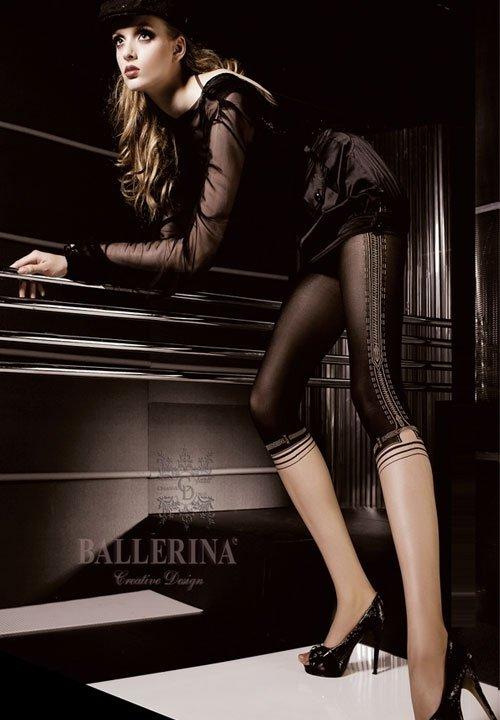 MADISON rajstopy imitujące legginsy, czarno-beżowe, lurex, Ballerina 054