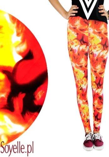 FIRE ogniście czerwone legginsy z żółtymi motywami