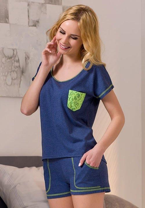 APLI NAVY granatowa, melanżowa piżama: szorty z kieszeniami i koszulka