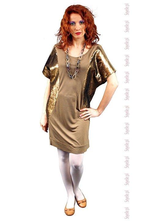 GOLDA sukienka - tunika z cekinami, miodowy kolor