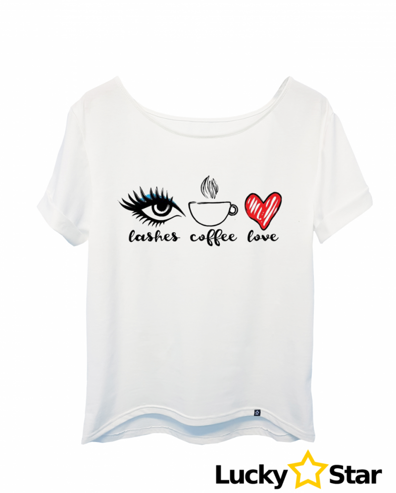 Koszulka damska lashes coffe love