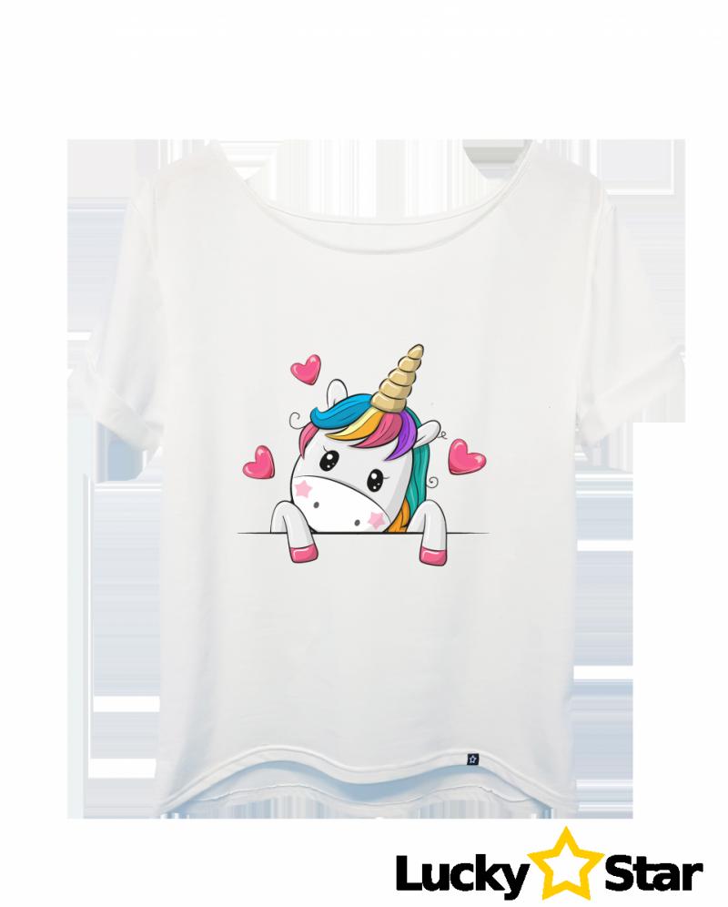 Koszulka Damska Jednorożec serduszko