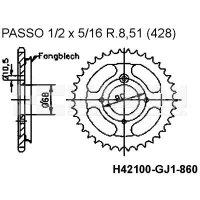 Zębatka tylna stalowa JT 95R24145, 45Z, rozmiar 428, z kołnierzem 2300519 Honda MTX 80