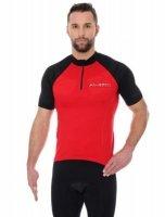 Brubeck SS12390 Koszulka rowerowa unisex krótki rękaw z suwakiem czerwony/czarny