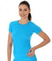 Brubeck SS11700 Koszulka damska z krótkim rękawem ACTIVE WOOL jasnoniebieski