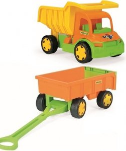Gigant Truck  wywrotka z  przyczepą +zestaw do piasku Wader (65005 +10952)